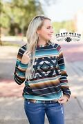 Crazy Train Fall Traditions Pullover Top Size Xs - 3x Southwestern Nfr Style New