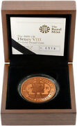 2009 Henry Viii Gold Proof Coin With Box And Certificate Uk Crown Goldcoin Set