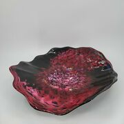 White Elk Hand Blown Art Glass Footed Bowl Eagles Nebula Marty Holmes Large