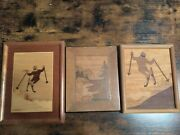 Lot 3 Rare Alpine Downhill Skier Inlay Wood Marquetry Jeff Nelson Picture Old