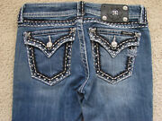 Miss Me Jeans Low Boot Dark Thick White Stitch Back Flap Pocket Crystal Trim 27