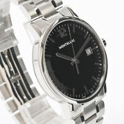 Summit Large Men's Watch 7093 Black Dial Wristwatches Ss W/boxed
