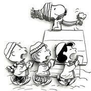 3d Peanuts Christmas Caroling Crew Hand D Snoopy Limited Edition Decoupage Art