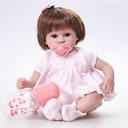 Simulation Baby Play Doll 45cm Brown Eye Pink Skirt 18 Inches Reborn Dolls