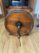 Antique Primitive Barrel Style Cylinder Metal And Wooden Butter Churn Iron Crank