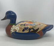 Duck Decoy Ceramic Hand Painted Collectible Vtg 12 Floral Signed