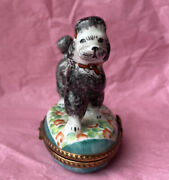 Gray Poodle On Flower Field Limoges France Box - Hand Painted - Collectible