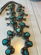 Vintage Navajo Native American Sterling Silver Signed Turquoise Squash Necklace