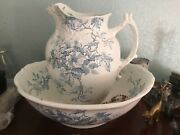 Very Rare Alfred Meakin Blue Wash Bowl And Pitcher Vanity Set