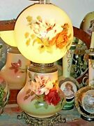 Gone With The Wind Lamp Handpainted Floral Vintage