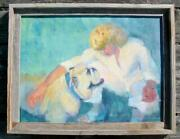 Vintage Original Lucille Ball Painting English Bulldog Movie 1947 Lured 18 By 24