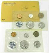 2 Sets 1961 U.s. Mint Philadelphia Silver Proof 5 Coin Uncirculated