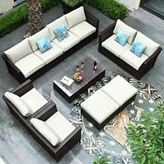 12 Pieces Outdoor Sectional Sofa Patio Furniture Set With Table And Cushions