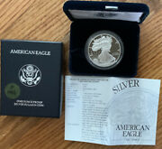 1996-p American Eagle Silver Dollar Proof With Coa And Box 100 Us Mint