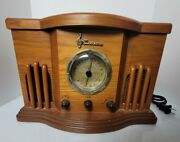 Vintage Emerson Wood Table Radio And Cd Player Old Antique 2005 Brown Decorative
