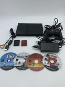 Sony Playstation 2 Ps2 Slim Console With Controller 2 Memory Cards 4 Games