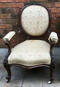 19th Century Hand Carved Victorian Parlor Gentleman's Arm Chair Floral Leg