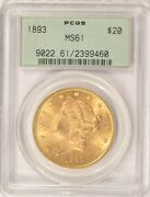 1893 20 Liberty Gold Double Eagle Coin Pcgs Ms61 Pre-1933 Old Green Holder Ogh
