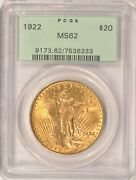 1922 20 Saint Gaudens Gold Double Eagle Pcgs Ms62 Pre-1933 Old Green Holder