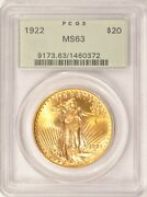 1922 20 Saint Gaudens Gold Double Eagle Pcgs Ms63 Pre-1933 Old Green Holder