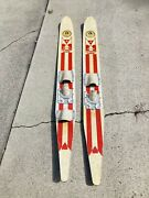 ⭐️vintage Hedlund⭐️ 🌊water Skis Trick Wooden Hydro-flite About 68 Long🌊
