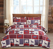 Moose Quilted Bedspread Twin Size Cabin Red Plaid Bedding Baflo Bear Bedspreads