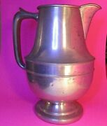 Vintage Queen City Silver Co. Real Pewter Water Pitcher Cincinnati Ohio 10 Tall