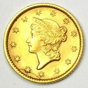 1853 Liberty Gold Dollar G1 - Choice Au / Unc Ms Details - Rare Early Coin