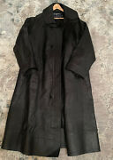Vintage Polo Sport Leather Trench Coat Duster Mens M Fits L Vtg