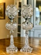 Eapg Illinois Us Glass Co Banquet Kerosene Lamps P And A Burners