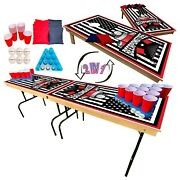 2-in-1 Cornhole And Tailgate Pong Table Set For College, Tailgate, Party, And Events
