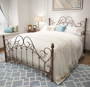 Queen Platform Metal Bed Frame With Headboard And Footboard,vintage Victorian No