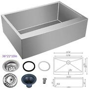 36x21 Inch Farmhouse Kitchen Sink Apron Front Stainless Steel Deep Single Bowl