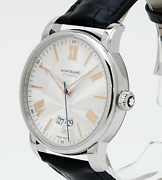 4810 Date Automatic Silver Dial Menand039s Watch Leather Belt Wristwatches