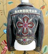 Double D Ranch Ranchwear Pigalle Cross Black Leather Collector Jacket M Euc
