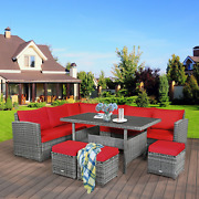 7 Piece Patio Rattan Dining Furniture Sectional Sofa Set With Wicker Ottoman