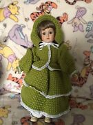Alberon Porcelain Doll Collectible Vintage With Green/white Hand Knitted Clothes