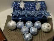 Lot Of 13 Vintage Christmas Ornaments And Garland Blue Silver White Micro Beads