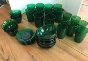 Anchor Hocking Green Sandwich Glass Glasses Bowls Custard Cups/liners 37 Pc.