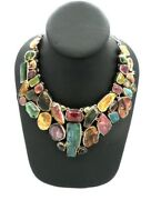 Beautiful Vintage Sterling Silver Multi Color And Shape Tourmaline Stone Necklace