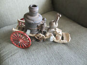 1950s 60s Vintage Toys Cast Iron Horse Drawn Fire Pumper Wagon For Parts