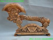 26 Old Chinese Boxwood Wood Hand Carved Dragon Head Phoenix Bird Statue Ax Axe