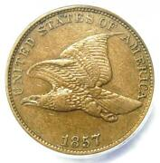 1857 Flying Eagle Cent 1c Penny Coin - Certified Anacs Au50 - Rare Type