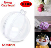 10x Clear Plastic Ball Baubles Sphere Fillable Christmas Ornament Diy Craft Gift
