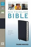 Niv Thinline Bible Bonded Leather Navy Indexed Red By Zondervan Excellent
