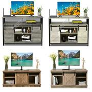 Rustic Farmhouse Sliding Barn Door Tv Stand Console Table Cabinet For Up To 65