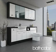Bathroom Fitted Furniture White Gloss/hacienda Black A3 2000mm With Wall Units -