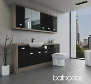 Bathroom Fitted Furniture Black Gloss/driftwood A3 2000mm With Wall Units - Bath
