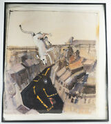 Vintage Mcm Pen And Ink And Gouache Dog Painting Drawing By Robert Andrew Parker