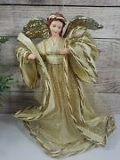 Gold Angel Tree Topper Paper Mache Stiffened Fabric Lace Gold Wings 16 Holiday